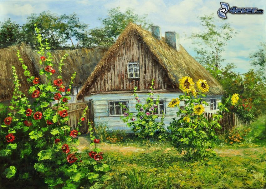 rysunkowy dom, słoneczniki, obraz