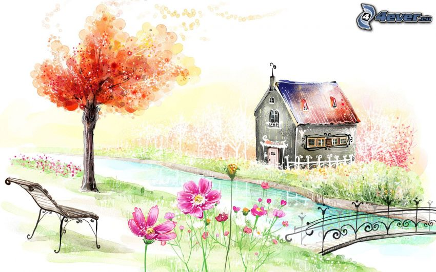 rysunkowy dom, strumyk, jesienne drzewo, różowe kwiaty, most dla pieszych, ławeczka