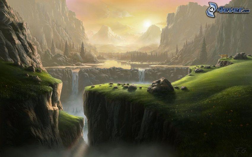 rysunkowy krajobraz, góry skaliste, wodospady