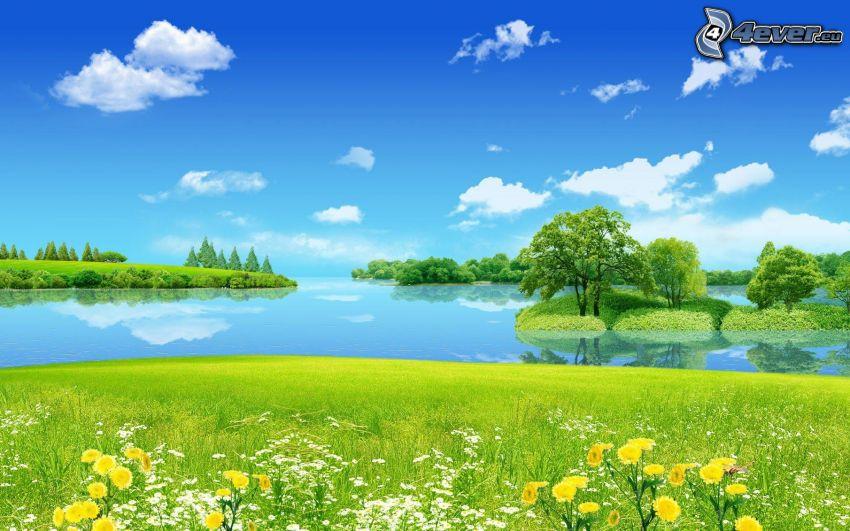 rysunkowy krajobraz, jezioro, łąka, drzewa, żółte kwiaty, białe kwiaty, chmury, niebieskie niebo