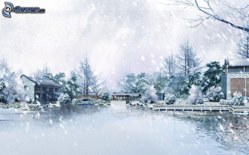 rysunkowy krajobraz, jezioro, opady śniegu