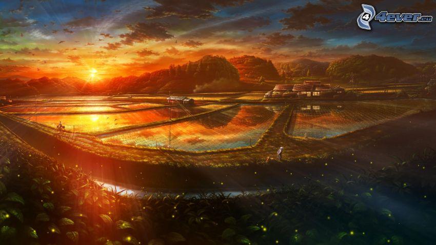 rysunkowy krajobraz, zachód słońca