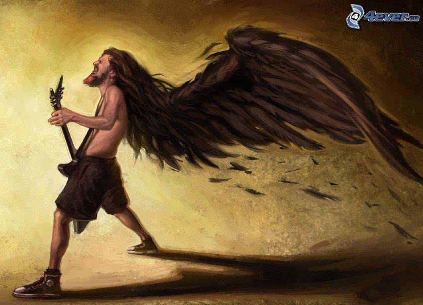 rysunkowy mężczyzna, elektryczna gitara, skrzydło
