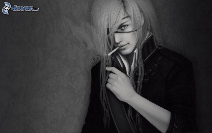 rysunkowy mężczyzna, papieros