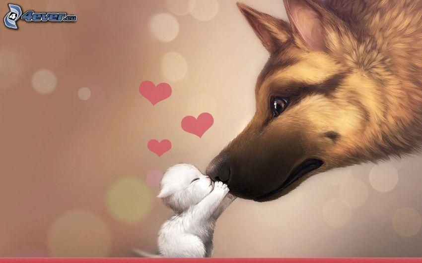 rysunkowy pies, kotek, pocałunek, serduszka, miłość