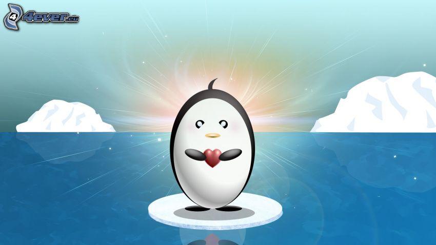 rysunkowy pingwin, czerwone serduszko, kra, ocean
