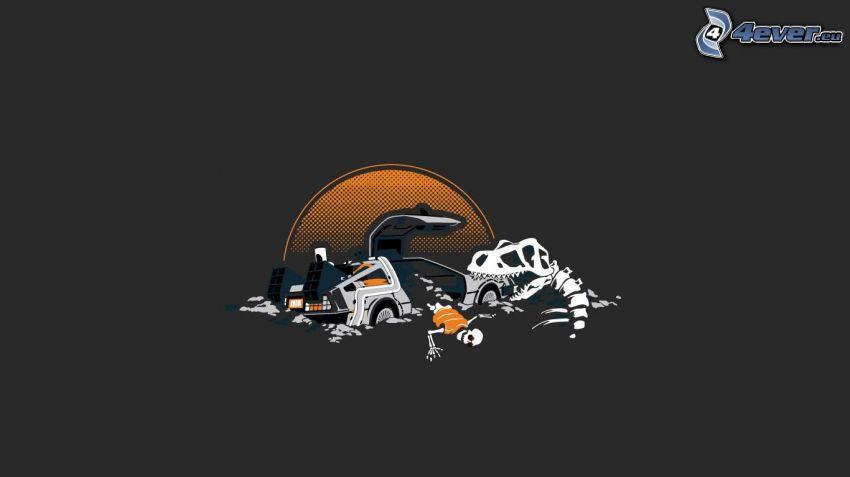 samochód, szkielety, Tyrannosaurus