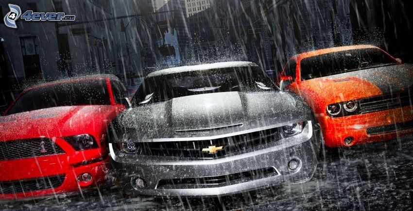 Samochody, Ford Mustang Shelby, Chevrolet Camaro, Dodge, deszcz