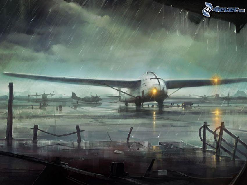 samolot, deszcz