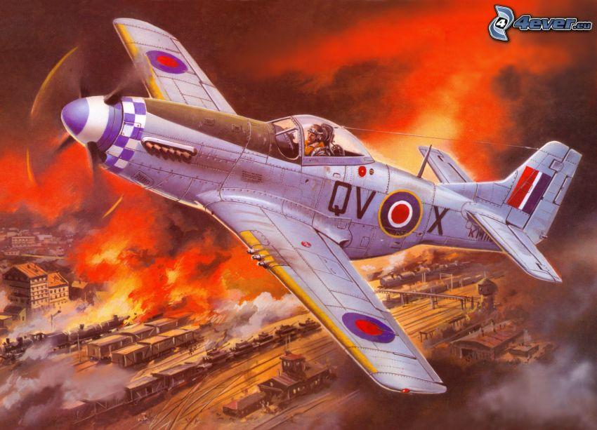 samolot, ogień