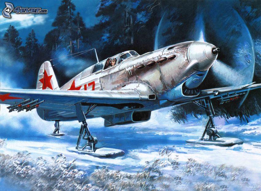 samolot, śnieg