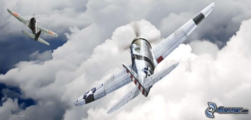 samoloty, chmury