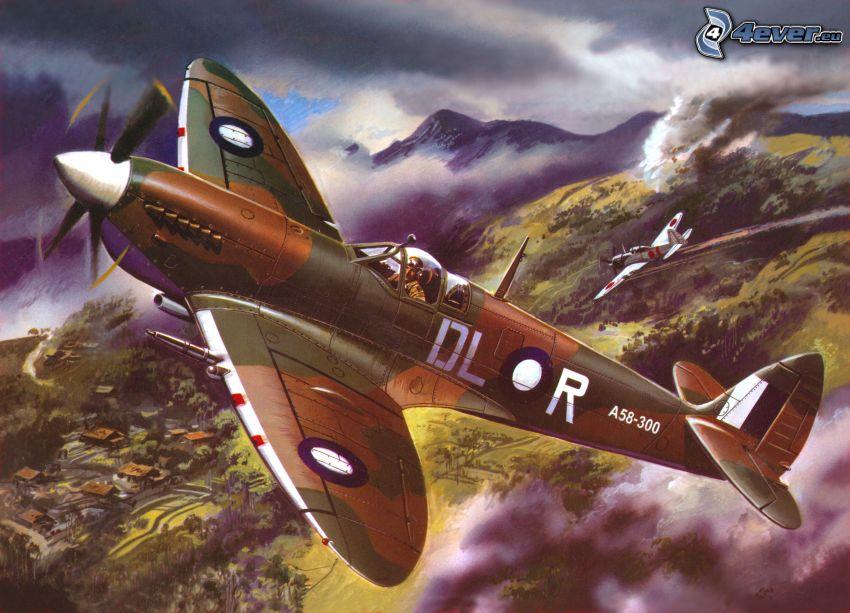 samoloty, skaliste wzgórza