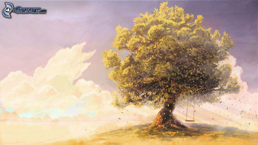 samotne drzewo, huśtawka, chmury