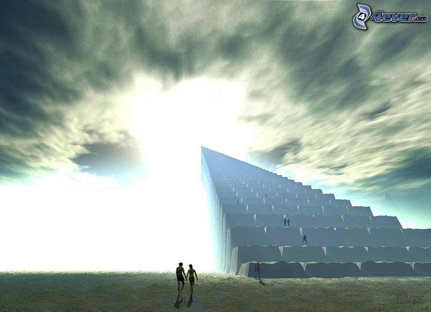 schody do nieba, pary, światło