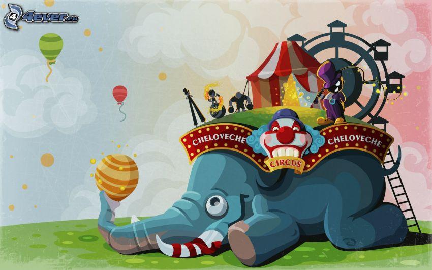słoń, cyrk, latające balony