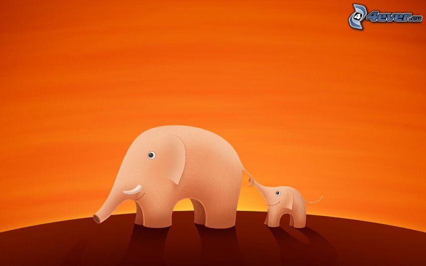 słonie rysunkowe, młode