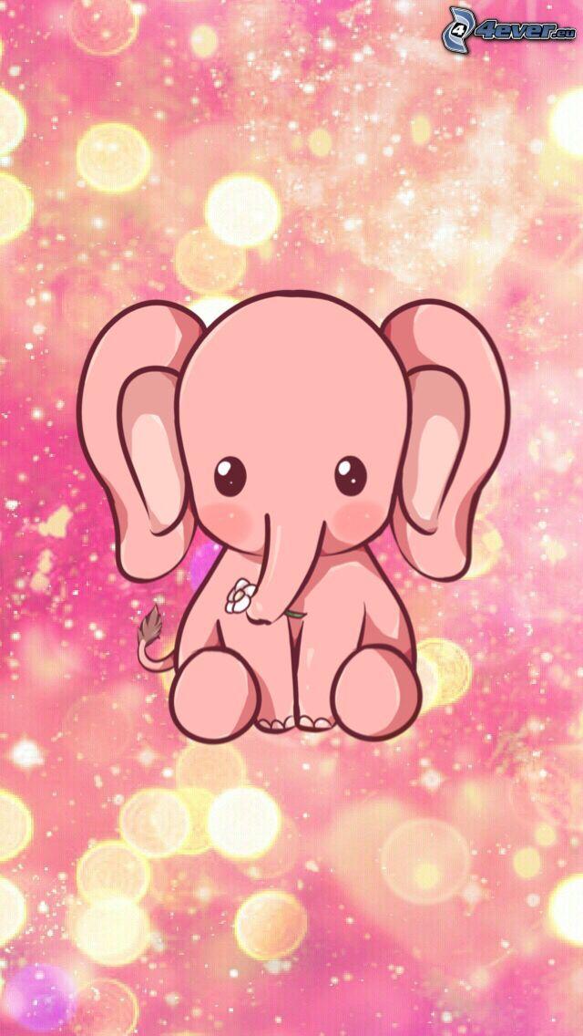 słonie rysunkowe, różowe tło, kółka