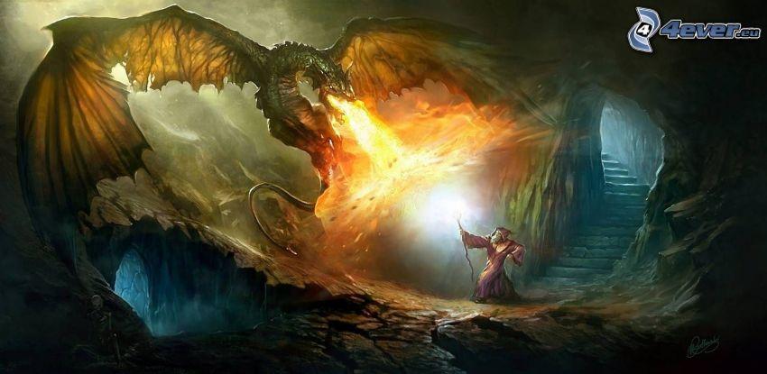 smok rysunkowy, płomień, rysunkowa postać, jaskinia