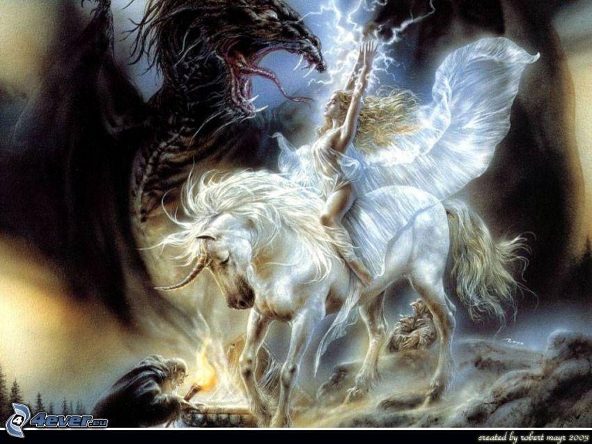 smok vs jednorożec, kobieta na koniu, walka