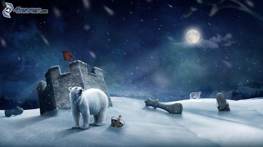 śnieżny krajobraz, niedźwiedzie polarne, noc, księżyc, korona