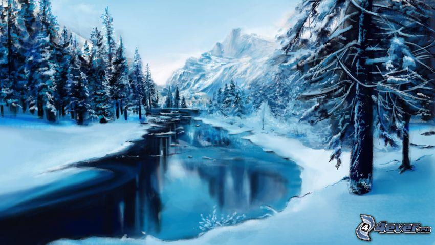śnieżny krajobraz, zimowa rzeka, ośnieżone drzewa