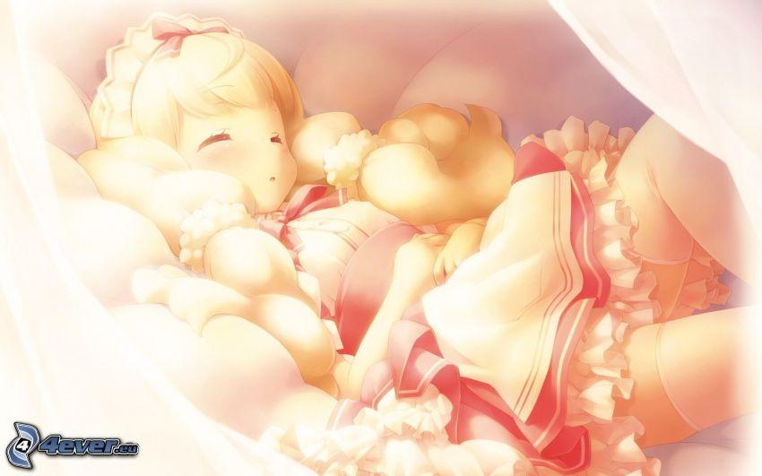 śpiące dziecko, rysunek dziecka
