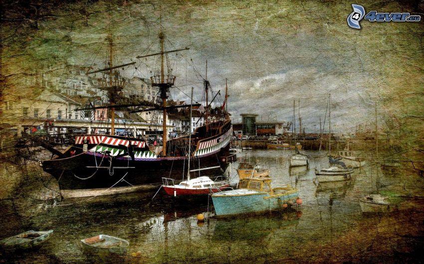 statki, port