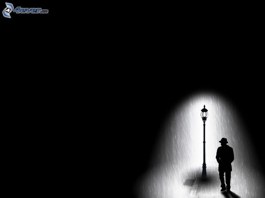 sylwetka mężczyzny, lampa