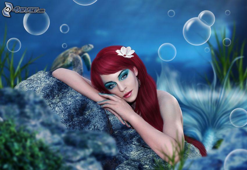 syrena, rudowłosa, bąbelki, skała w morzu