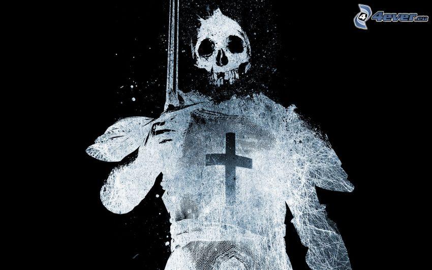 szkielet, czaszka, wojownik
