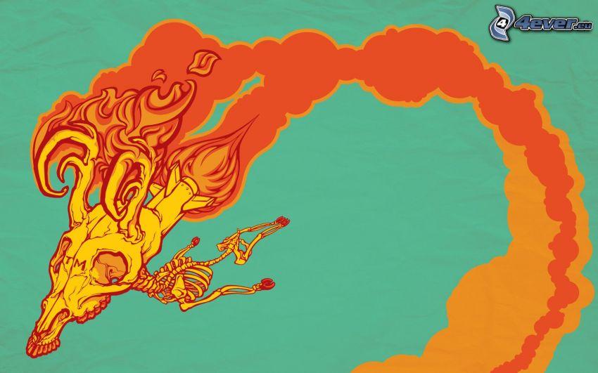 szkielet, ogień, dym