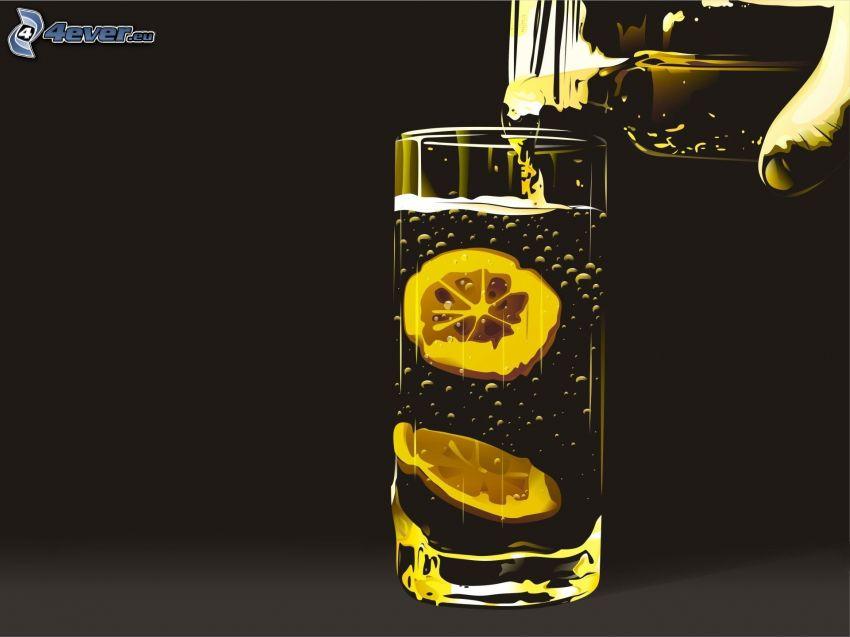 szklanka, woda, plasterki cytryny, butelka, ręka