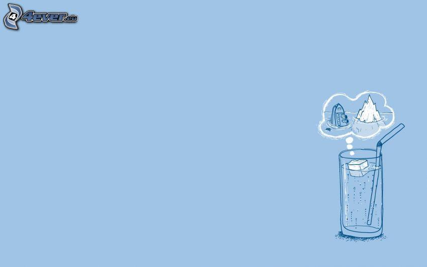 szklanka, woda, słomka, kostka lodu, parowiec, lodowiec