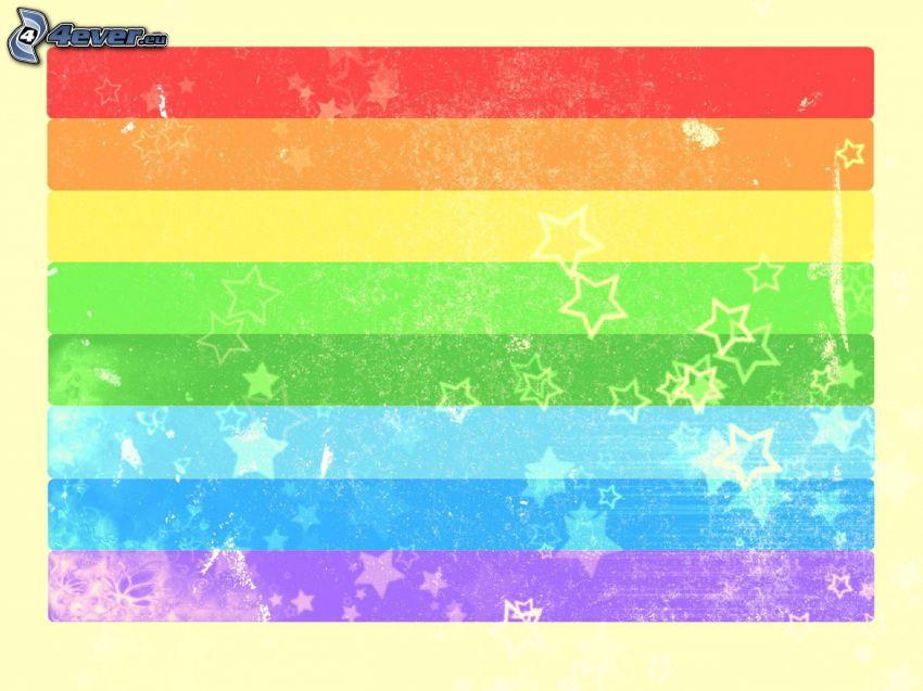 tęczowe pasy, gwiazdy