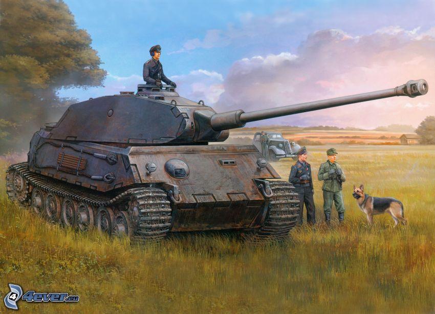 Tiger 2, czołg, Wehrmacht, pole, żołnierze, chmury