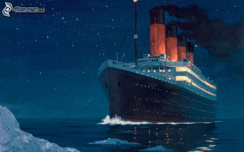 Titanic, gwiaździste niebo, noc, lodowiec