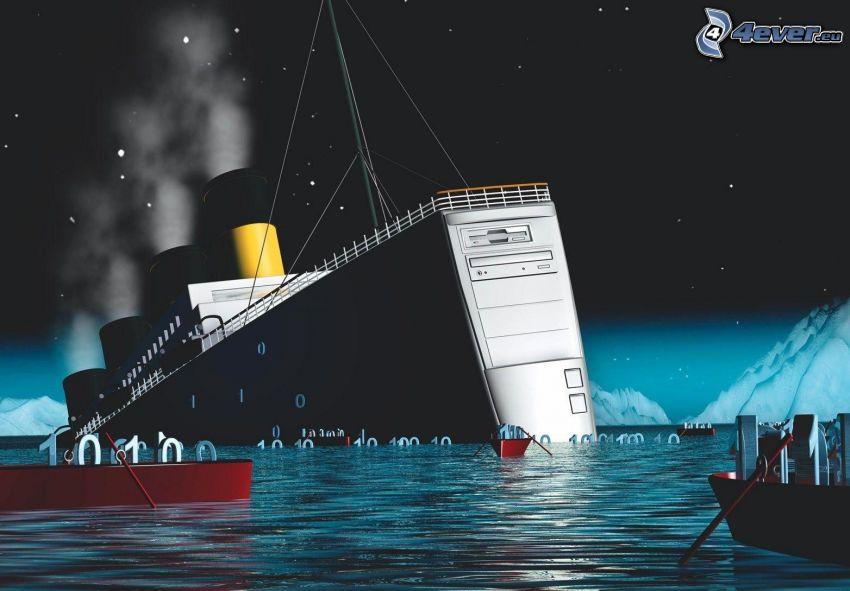 Titanic, parodia, komputer, łódki, morze, noc