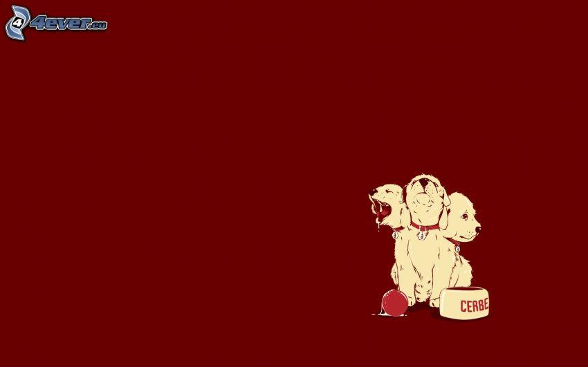 trójgłowy pies, narysowane psy, małe psy, miska