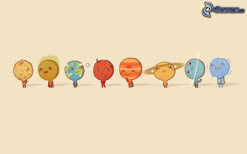 układ słoneczny, planety, Merkury, Wenus, Ziemia, Mars, Jupiter, Saturn, Uran, Neptun