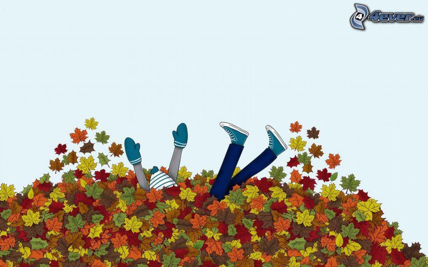 upadek, opadnięte liście, rysunkowa postać