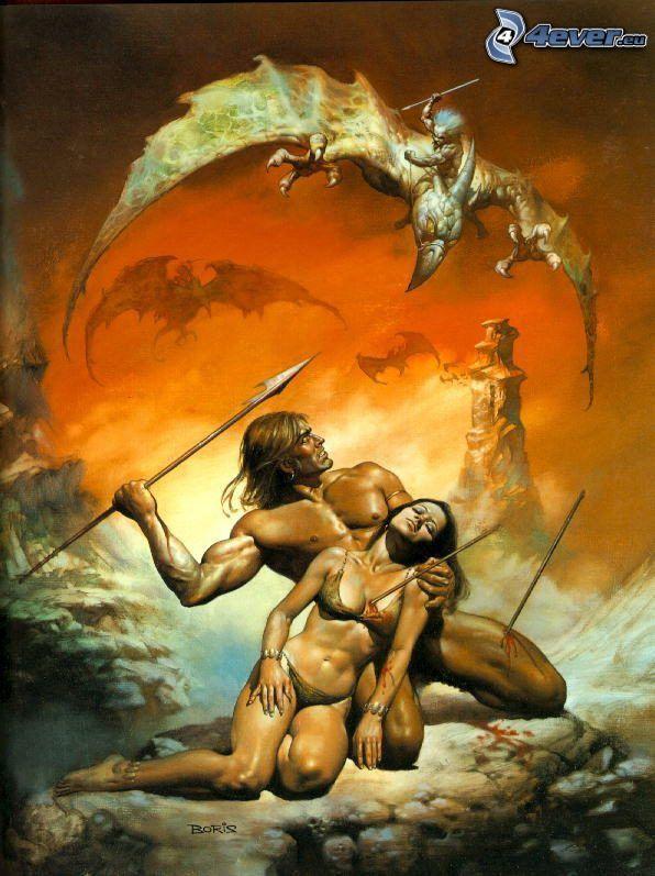 walka, mężczyzna i kobieta, latający smok, wojownik
