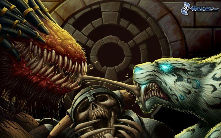walka, smok rysunkowy, tygrys, czaszka