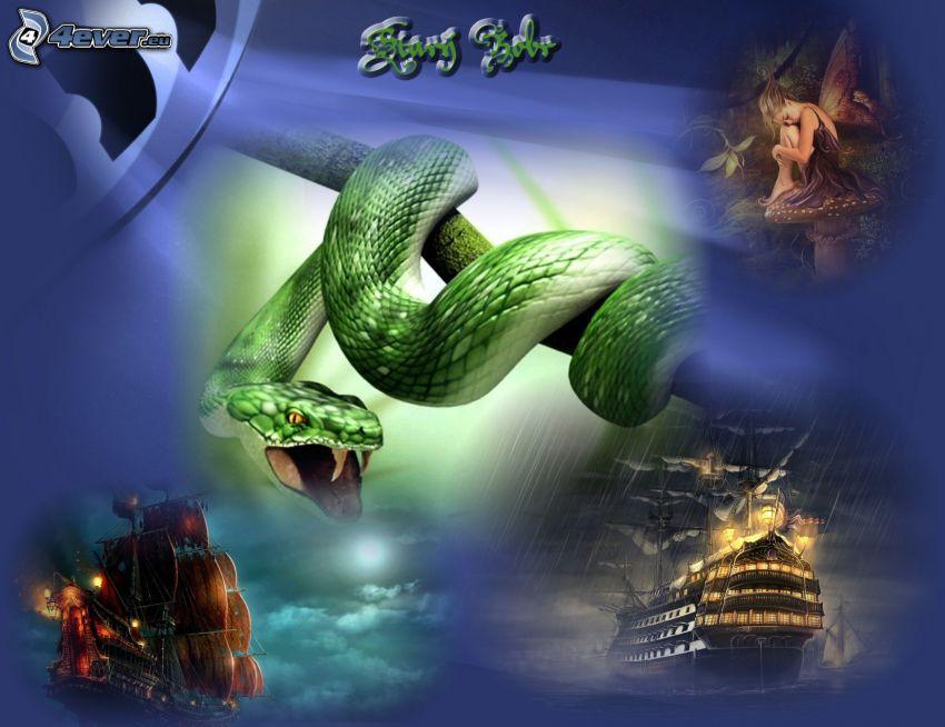 wąż na drzewie, kolaż, statki