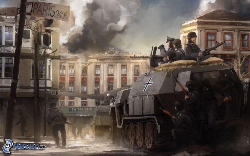Wehrmacht, żołnierze, czołg, rysunkowe miasto, II wojna światowa
