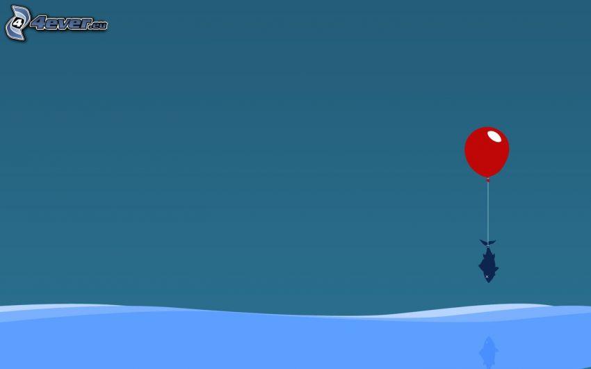 wieloryb, balon, morze