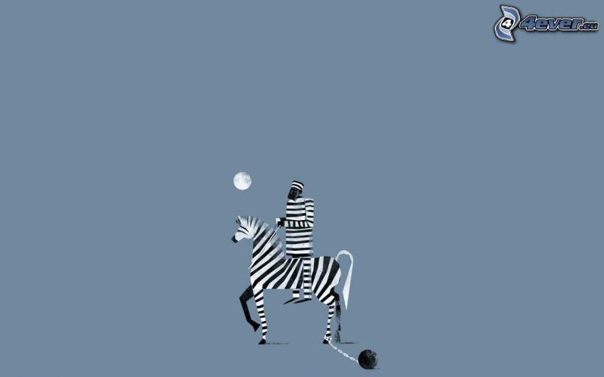 więzień, zebra, człowiek, księżyc