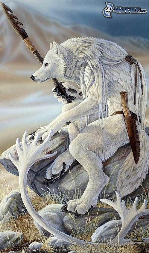 wilk rysunkowy, Indianin, wojownik