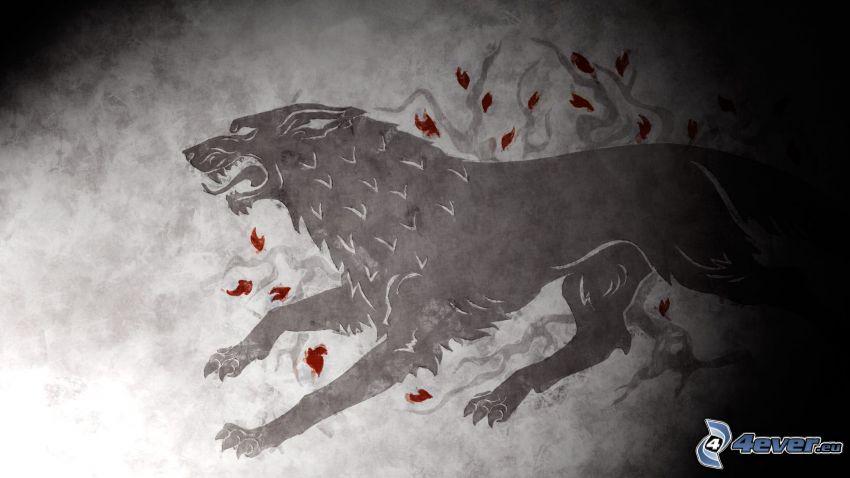 Winter is coming, czarny wilk