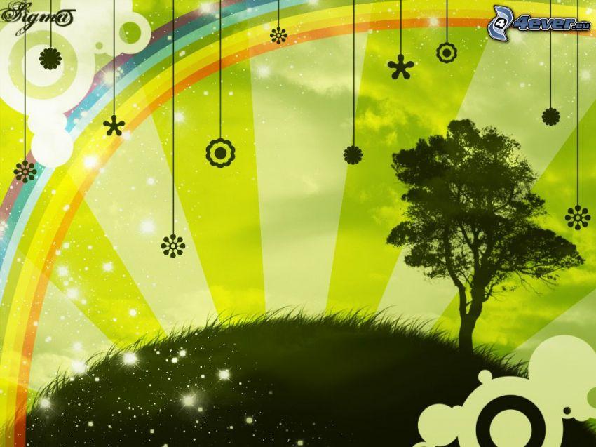 wirtualna łąka, samotne drzewo, cyfrowe kwiaty, tęcza, trawnik